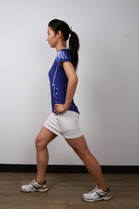 Standing calf muscle stretch (side view)